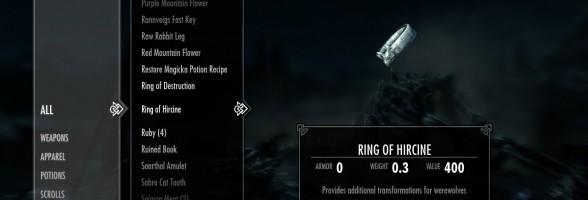 Skyrim – The Cursed Ring of Hircine or the Savior's Hide? (Daedra Artifact)