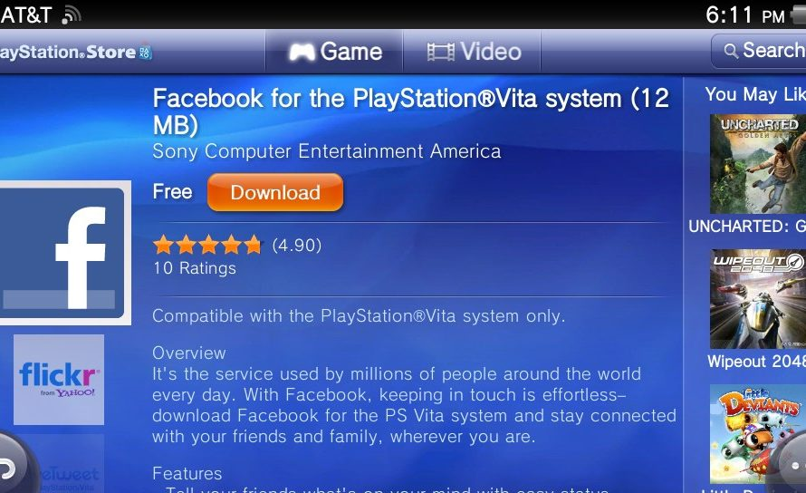 Facebook Now on PlayStation Vita