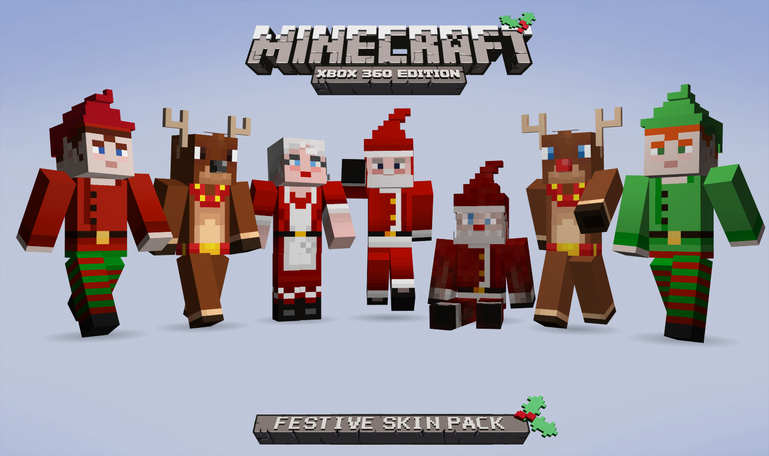 Festive skins come to minecraft xbox 360 edition just for Mine craft for xbox