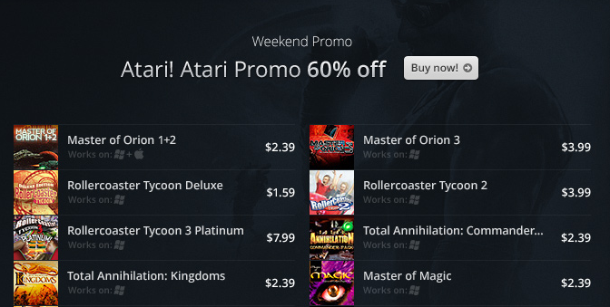 GOG Launches Atari! Atari! Promo Weekend Sale