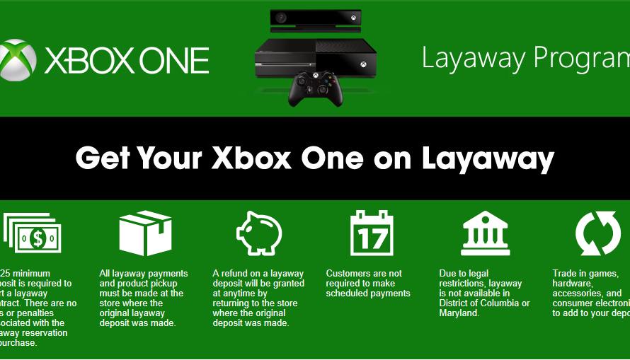 Gamestop Is Now Offering Xbox One Layaway Program