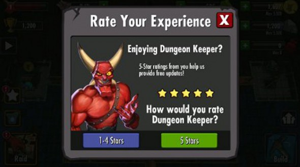 Dungeon Keeper Reboot Filtering Out Low User Reviews