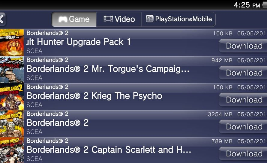 Borderlands 2 on PSN Requires Large Memory Card Space On PS Vita