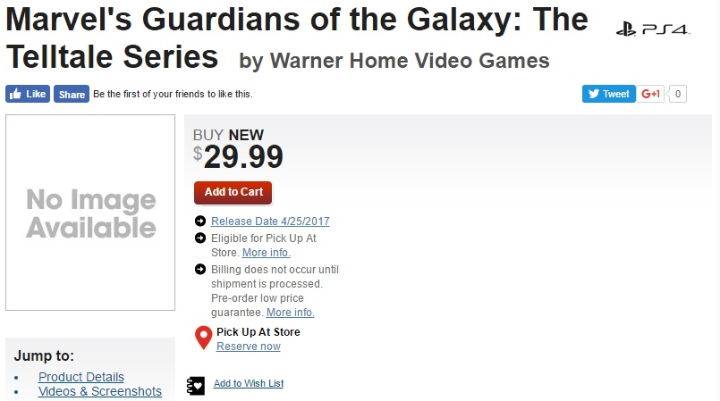 Rumor: Guardians of the Galaxy Video Game Release Date Revealed By Gamestop