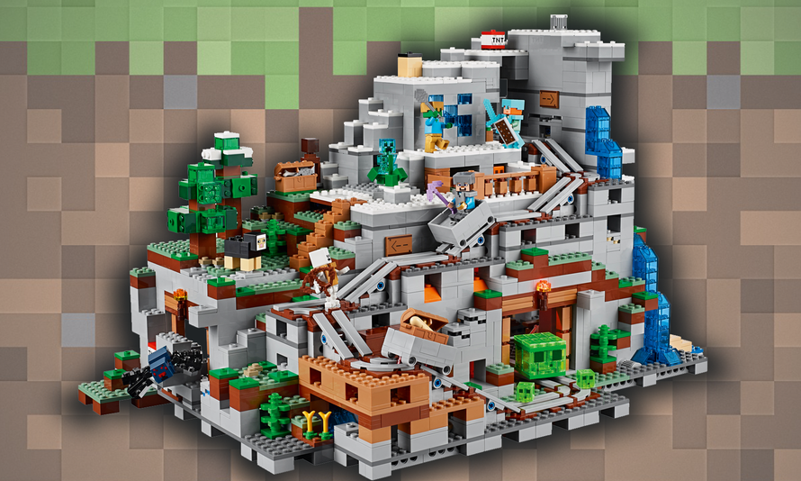 This Lego Minecraft Mountain Cave Is Really Huge