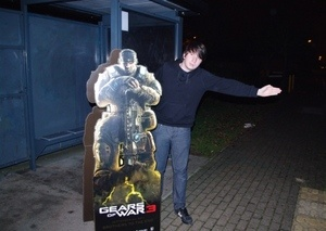 Gears of War Cardboard Character Pays for Bus Ride