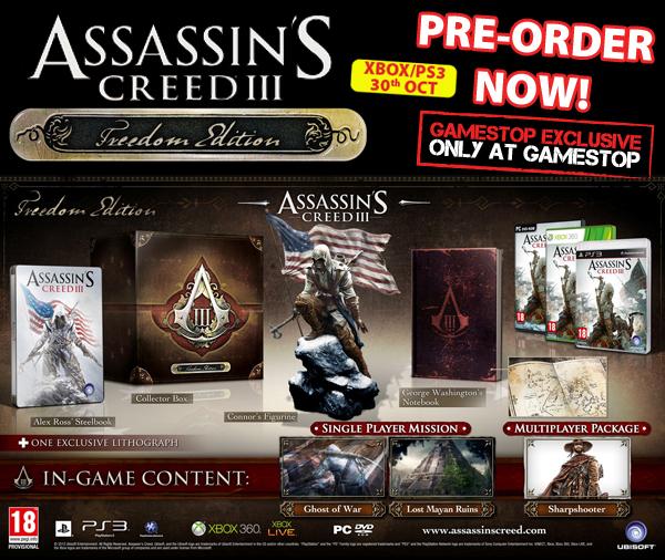 Gamestop Ireland Lists Assassins Creed III Freedom Edition