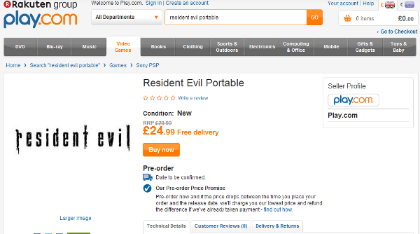 Rumor: Resident Evil Portable Outed by UK Retailer Play.com