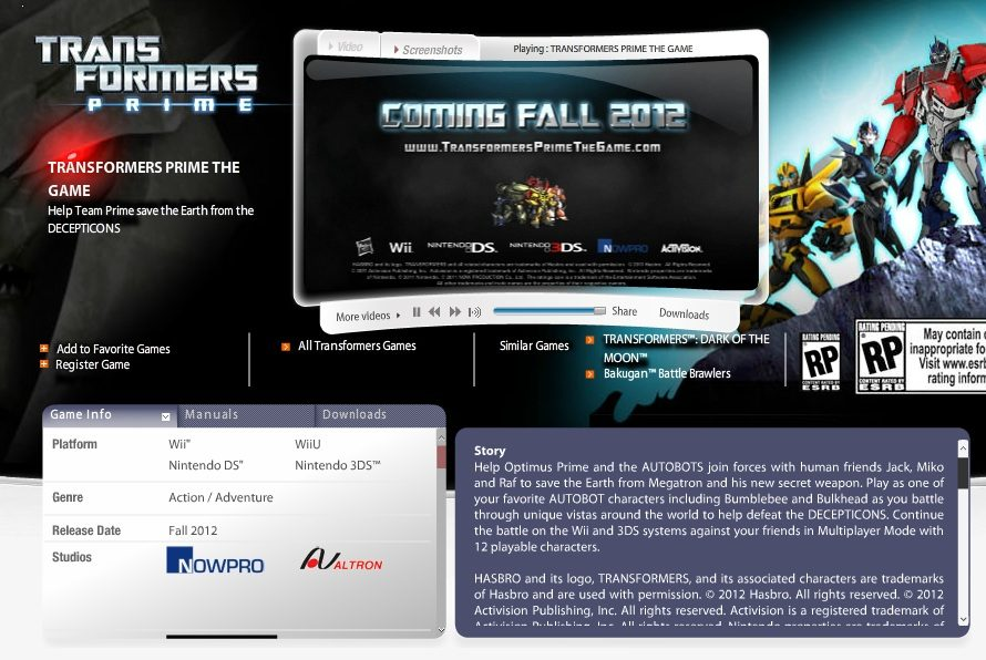 Transformers Prime Coming to Wii U