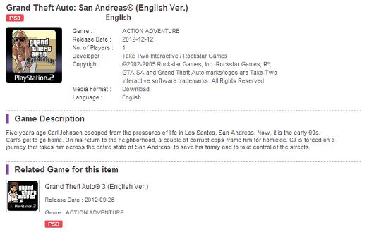 PSN Hong Kong Lists GTA: San Andreas