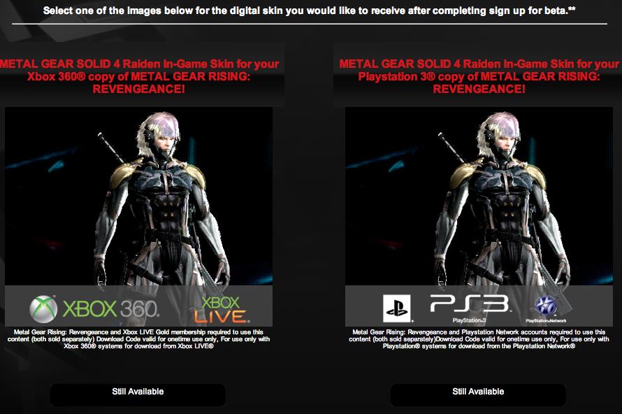 Register for Konami Core and Get the MGS 4 Raiden Costume for Rising