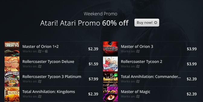 GOG Launches Atari! Atari! Promo Weekend Sale