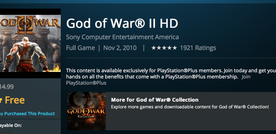 Sony Accidentally Lists God of War 1 & 2 for Free with PlayStation Plus