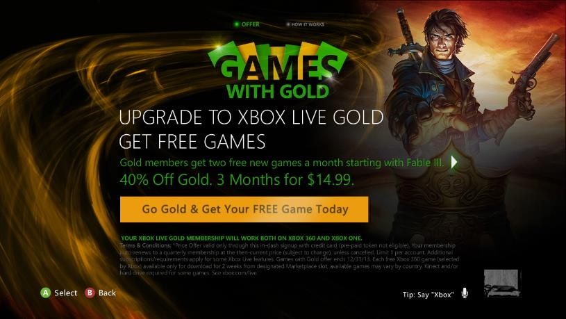 'Games with Gold' promotion for Xbox Live Silver Members