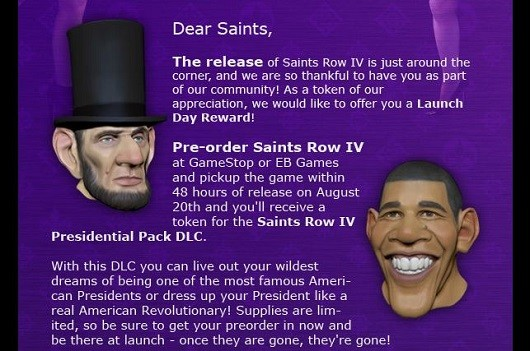 Saints Row 4 allows you to dress up as President Obama or Lincoln