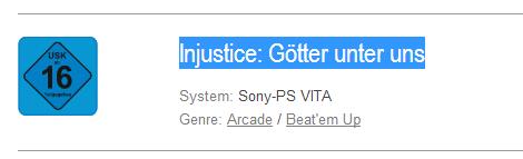 Injustice Rating PS Vita