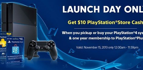PS4 Launch Deal: Buy a PS4 with a year of PS Plus, get $10 PSN credit