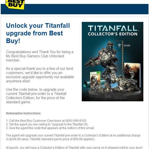 Titanfall Pre-Orders Get Free Major Upgrade For Some Best Buy Members
