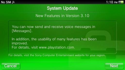 PS Vita 3.10 Firmware
