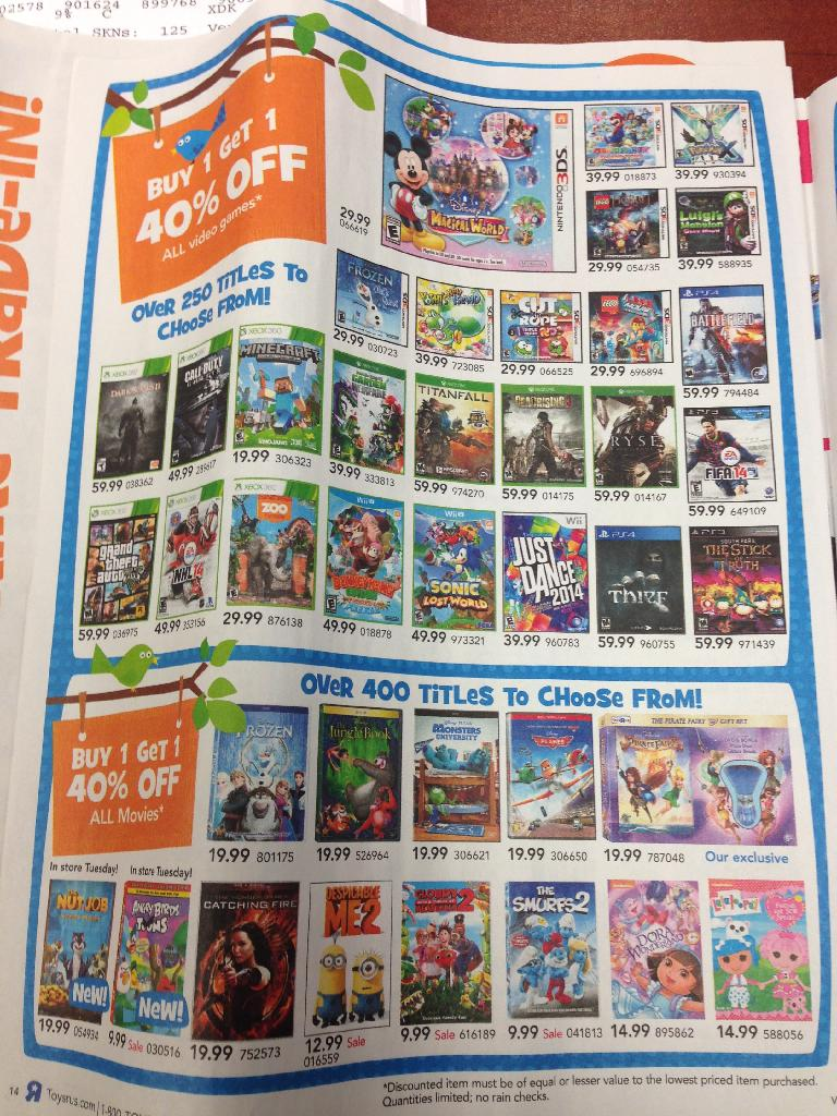 Toys R Us Has Brought Back Buy One Game Get One 40 Off Sale This Week