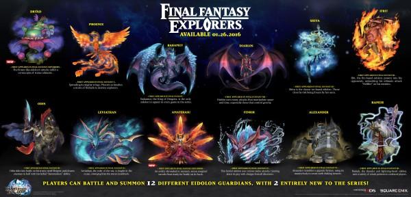 Final Fantasy Explorer's 12 Eidolons revealed