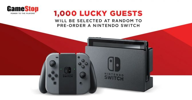 Gamestop Is Allowing 1000 Random Customers To Pre-order The Nintendo Switch