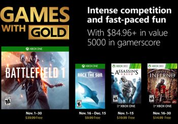 Xbox Live Games with Gold Free Games for November 2018 announced