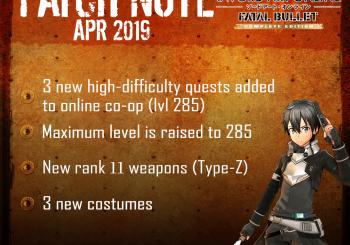 Sword Art Online: Fatal Bullet version 1.7.0 update now live