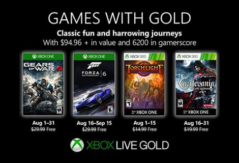 Xbox Live Games with Gold for August 2019 revealed