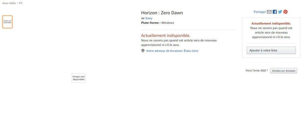 Horizon Zero Dawn Amazon France