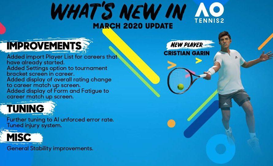 AO Tennis 2 Update Patch 1.05 Arrives