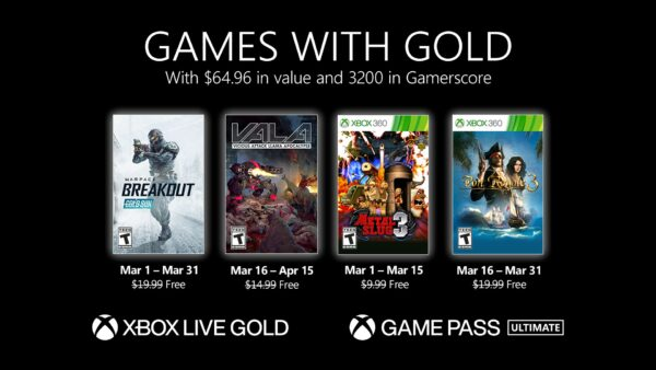 Games with Gold March 2021 lineup revealed